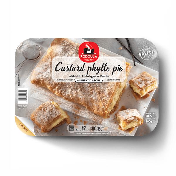 Greek Vanilla Custard Phyllo Pie with Madagascar Vanilla