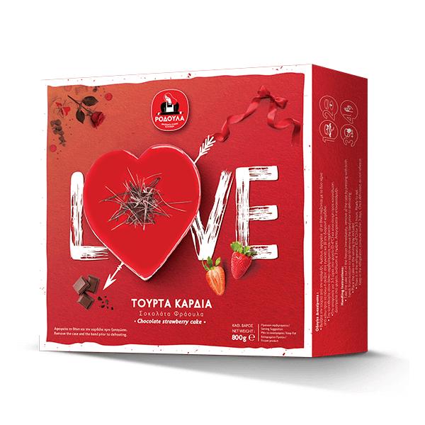 Τούρτα Καρδιά Σοκολάτα Φράουλα